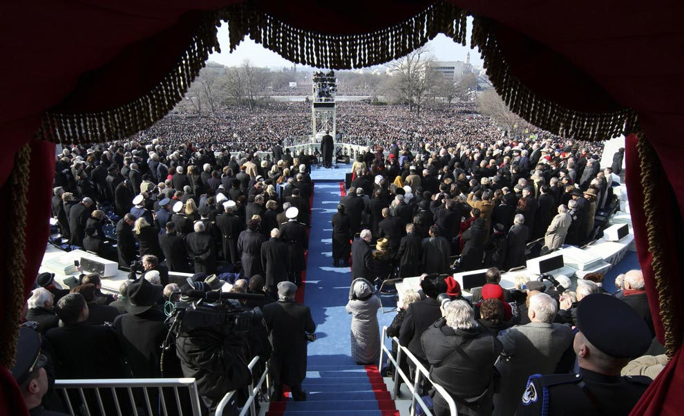 President Barack Obama delivers his inaugural address after being sworn in by Chief Justice John Roberts as the 44th president of the United States as the 44th President of the United States of America at the Capitol January 20, 2009 in Washington, DC.